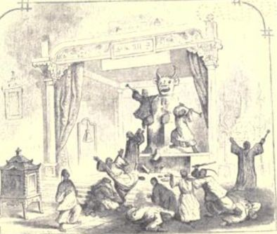 Taipings destroying Kan-wang-ye idol in 1844