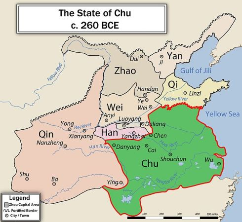 Chu's boundaries in 260 BCE. Credit: Philg88.